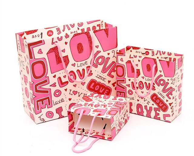 Pcs Lot Love Gift Bags S M Size Options Sweet Pink Love Words Printing