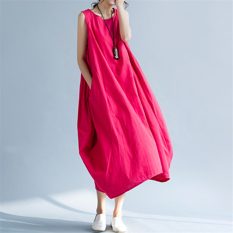 Round Neck Casual Solid Color Loose Long Dress Woman Autumn 2019 New A-line Sleeveless Pure Maxi Dress Chinese Style Vestidos Dresses