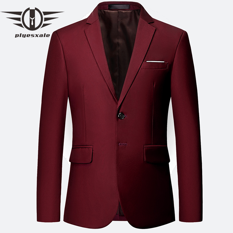 Plyesxale Blue Red Green White Gray Yellow Purple Blazer Men 2018 Slim Fit Man Blazer Casual Suit Jacket 5-6XL Men's Blazers Q65