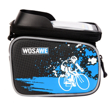 WOSAWE Bike Bicycle Frame Front Head Top Tube Bag Double IPouch Cycling Pannier For 6.0 inch Smartphone Touch Screen Bike Bag