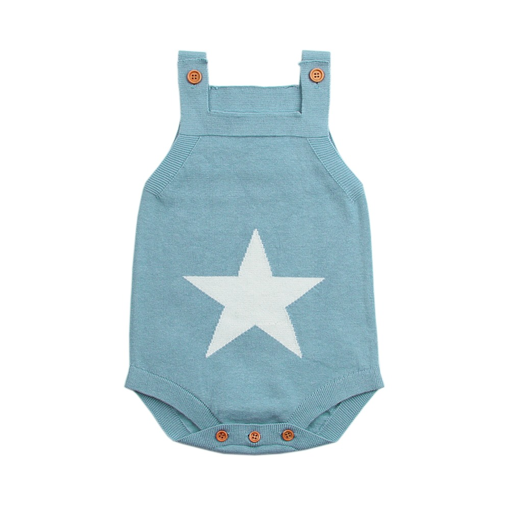 Summer Sleeveless Bodysuits For Boys Onesie White Star Knit Newborn Baby Girls Coveralls Grey Toddler Sunsuit Children Body Suit