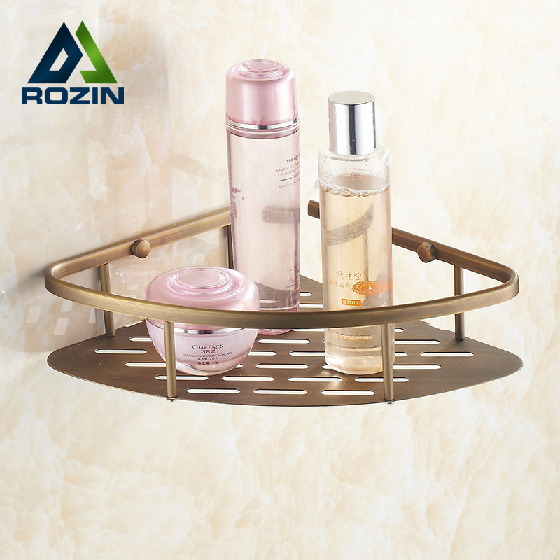 Free Shipping Antique Brass Triangle Bathroom Corner Shelf Single Tier Corner Storage Rack Bathroom Accessory ss3 25 colors about 1440pcs 3d nail art glass rhinestone non hotfix flatback glue on rhinestones for diy nail art