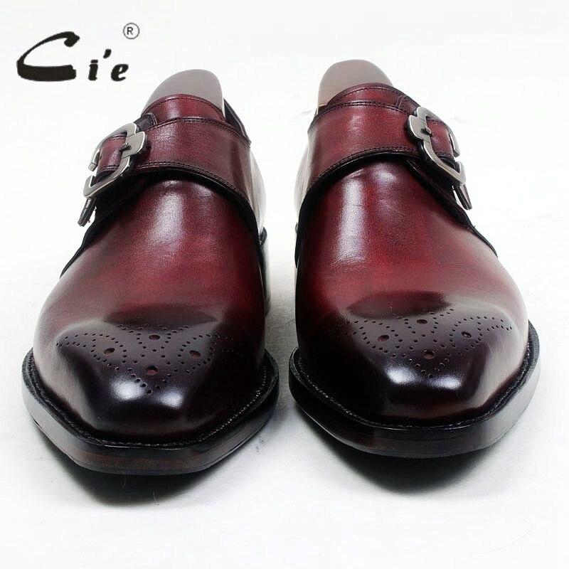 Cie/мужские туфли из натуральной телячьей кожи с квадратным носком, вырезами, ручной росписью, темно-винными ремешками; MS99