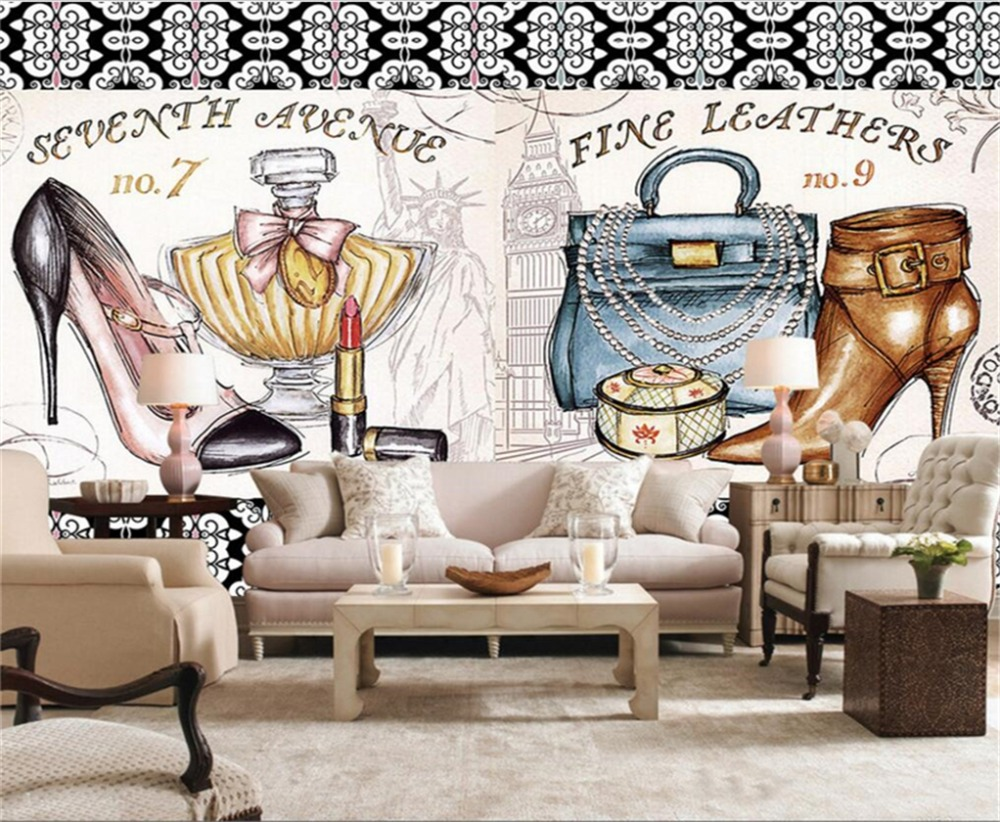 beibehang custom wallpaper 3d photo mural purse cosmetics highbeibehang custom wallpaper 3d photo mural purse cosmetics high heeled shoes background wall painting portrait mural 3d wallpaper in wallpapers from home
