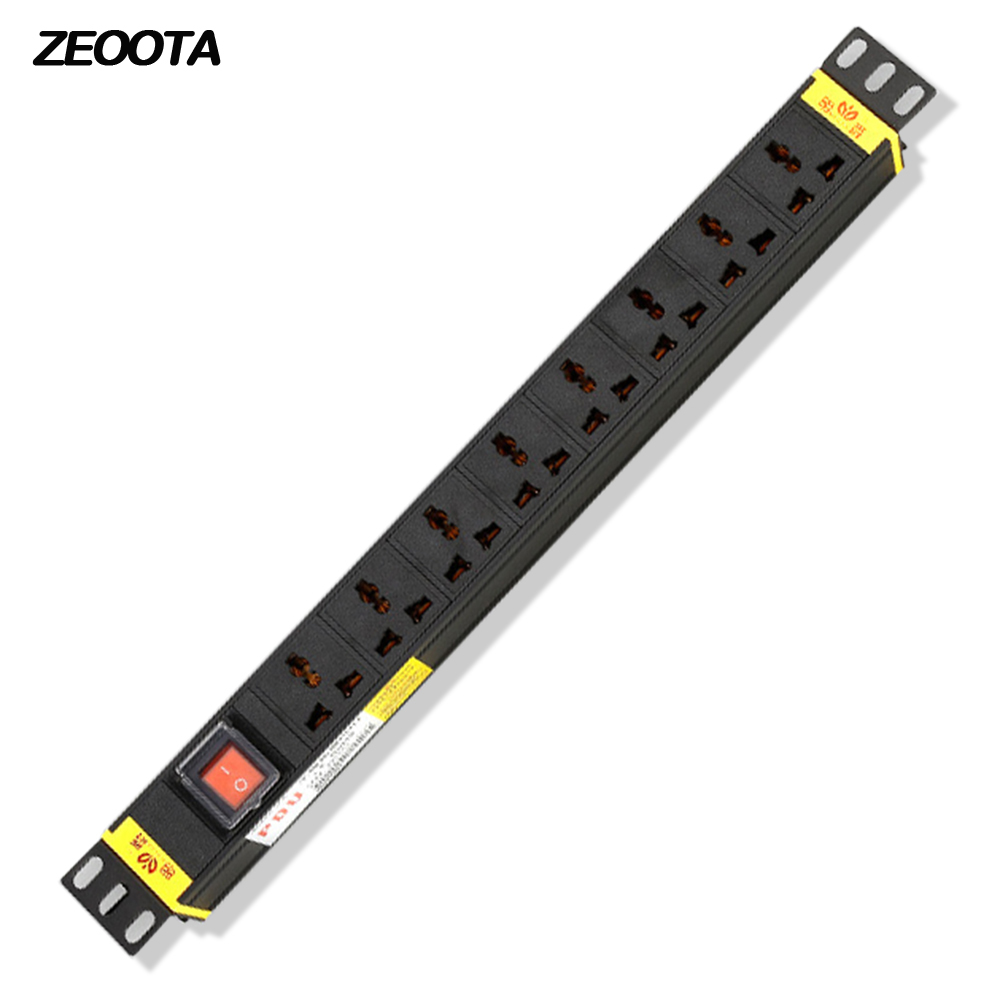 1U PDU Power Strip Network Cabinet Rack Plug Socket 16A Aluminum Alloy 8 Way Universal Outlets With Switch 5m Extension Cord