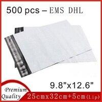 500 Pcs 9 8 X 12 6 DHL EMS White Poly Mailer Postage Envelope Plastic Mail