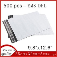 500 Pcs 9.8 x 12.6 DHL EMS White Poly Mailer Postage Envelope Plastic Mail Bags For Packing 25cmx32cm