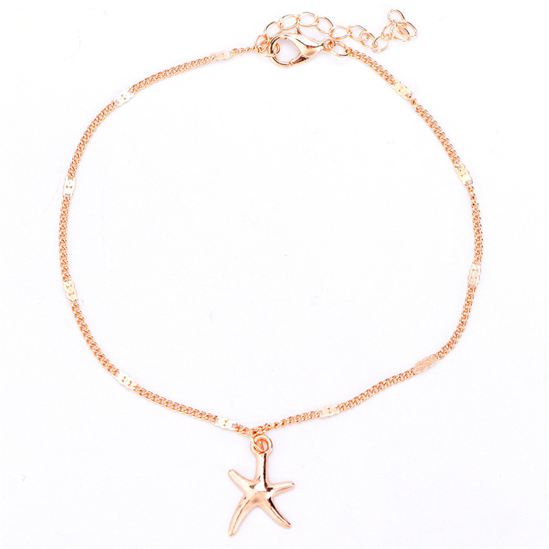 1pc Sexy Summer Style Beach Starfish Charms Anklet Bracelet Barefoot Sandal Jewelry Body Jewelry Anklets Gold Silver Color