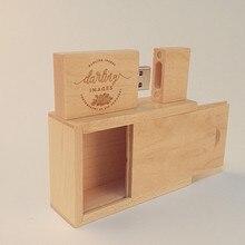 New Custom Wooden maple rectangular Box+wooden maple usb 2.0 memory flash stick pen drive(over 50pcs.free logo or name)