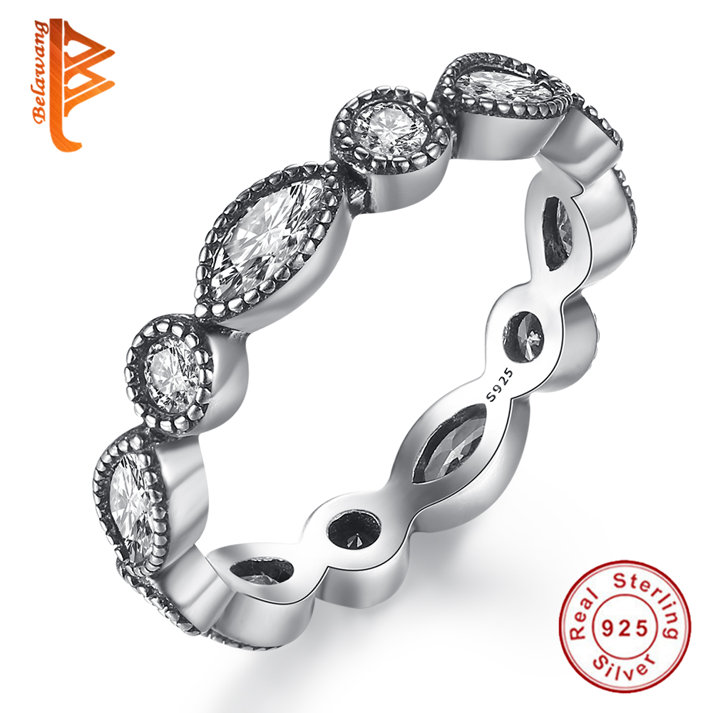 BELAWANG Brand 2017 New Collection 925-Sterling-Silver Rings,Clear CZ Alluring Brilliant Marquise Rings for Women Luxury Jewelry