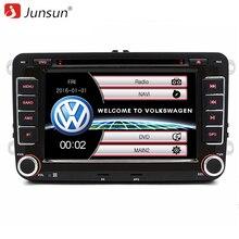 Junsun 7 pulgadas 2 din coche reproductor de dvd de radio del gps Bluetooth para volkswagen vw golf 5 6 passat B6 touran sharan jetta polo tiguan con el regalo libre