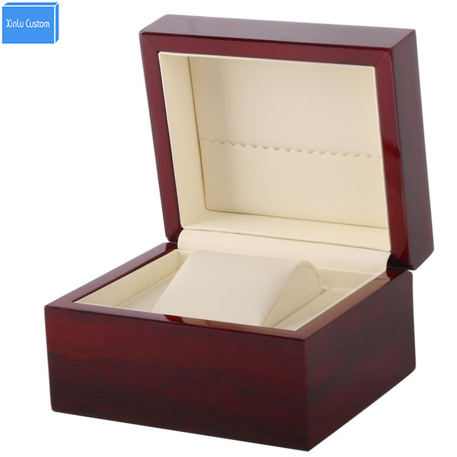 Famous Lacquer Glossy Single Wooden Watch Box Size 13x11x8cm, Print Logo  KH87