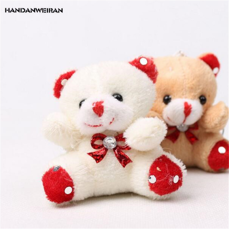 HANDANWEIRAN 1Pcs PP Cotton New Kawaii 7CM Cartoon Little Bear Stuffed Toys Cute Diamond Bear Pendants Gift Plush Toy Keychain