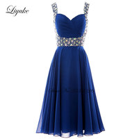 Liyuke Beading Sash Cocktail Dress Elegant Pleat Tulle Zipper Backless Knee Length Prom Dress For Cocktail Party