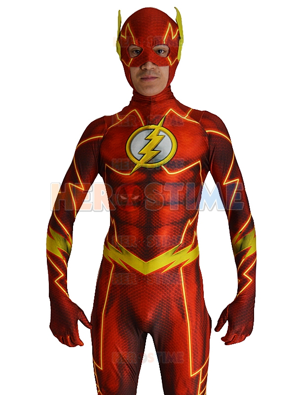 52 Flash Costume 2016 New 3D Shade superhero costume spandex fullbody Cosplay zentai Suit