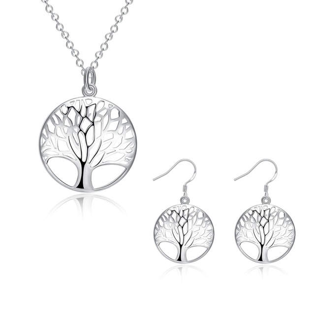 Creation Silver Tree Of Life Jewelry Bridal Set Necklace Earring