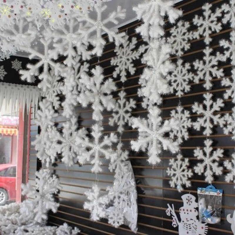 30Pcs แฟชั่นสีขาวแผ่นเกล็ดหิมะเครื่องประดับคริสต์มาสต้นไม้พลาสติกประดิษฐ์หิมะตกแต่งคริสต์มาส Home Decor