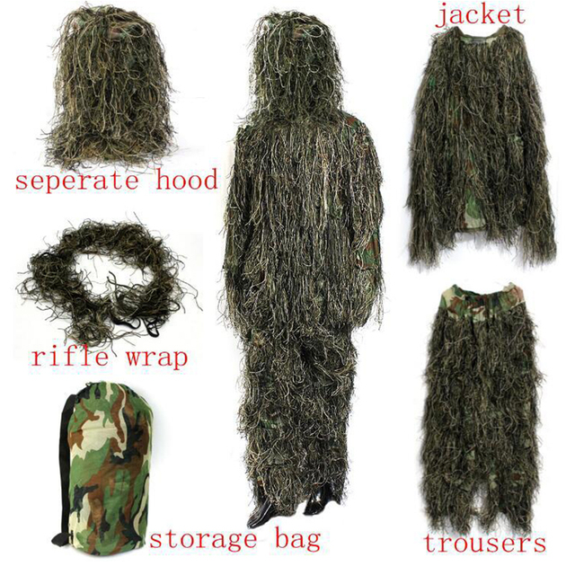 Tactical Camouflage Military Uniform Ghillie Clothes Secretive Hunting Aerial Suit Men US Army Military Combat Sniper Clothes 2