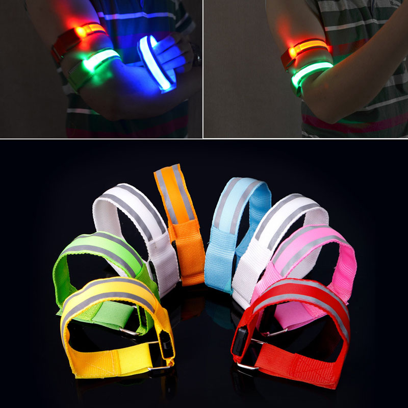 Reflective LED Light Armband Arm Strap Safety Belt For Night Cycling Running reflective led slap wrap glowing bracelet for running and ridding at night necessary for night safety free shipping
