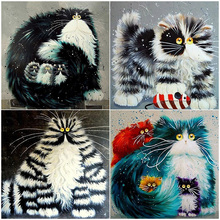 Oly 5D Diamond Painting Cat Full Round Mosaic Hand Drew Picture Rhinestone Embroidery