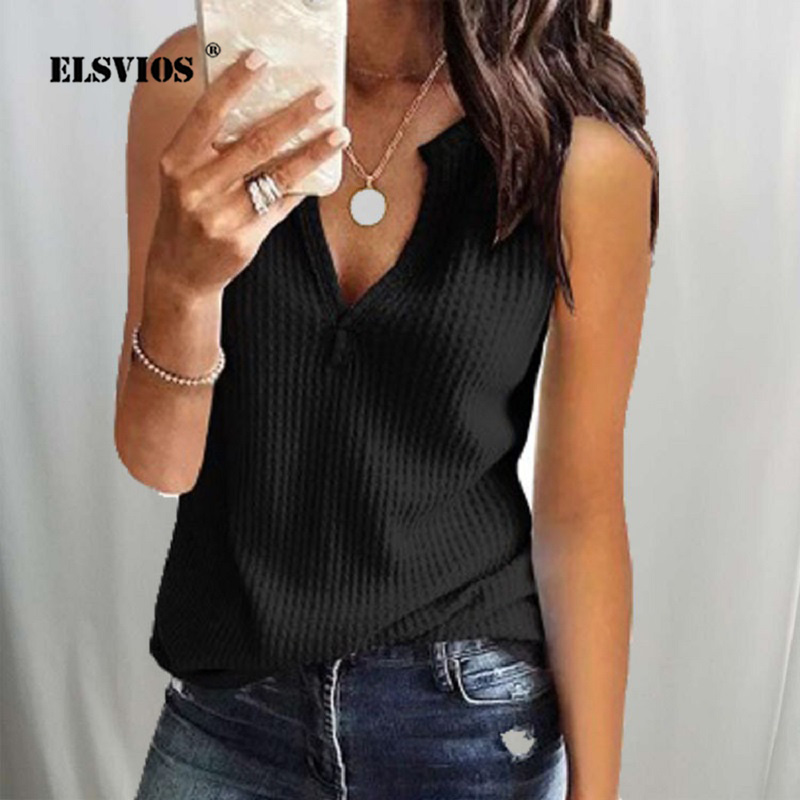 ELSVIOS 2019 Summer New Knit V-neck   Blouse     Shirt   Women Casual Off Shoulder Slim Fit Tops Elegant Solid Beach Plus Size   Blouses