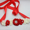 RED and ivory chiffon shabby Flower Sash belt Bridesmaid Bridal tulle Flower Belt Dress gown sash girl dress accessories