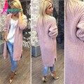Осень зима новый высокого качества способа фонарь рукав твист женские длинные трикотажные кардиганы свитер пальто трикотаж женский