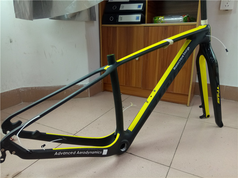 high quality thrust carbon mountain bike frame full t800 carbon fiber ud matte yellow painting