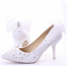 Wedding Shoes Lace Custom Made High Heel Pumps Bridal Shoes Ladies Evening Party Shoes Pumps