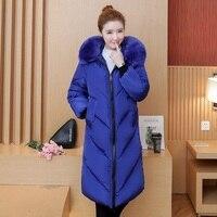 KUYOMENS Plus size 5XL Women Winter Cotton Jacket Coats Thick Warm Parkas Fashion Hooded fur collar Slim Jacket 105KG can wear