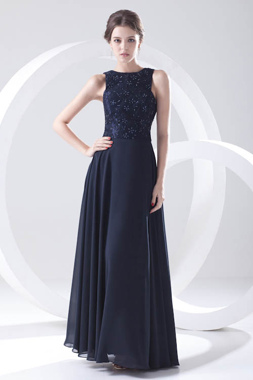 Vestido Largo Sexy Backless Navy Blue Beaded   Bridesmaid     Dresses   Chiffon Long Wedding Guest   Dress   Robe Demoiselle D'honneur