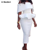 ERDAOBEN Newest women's party dress work ruffles mid-calf dresses slash neck strapless dress for Celebrity H72901