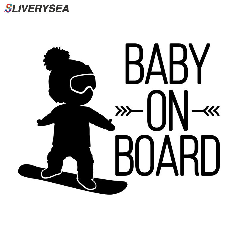 SLIVERYSEA Black Baby on Board Car Decal,BOY on Snowboard Vinyl Car Stickers Cool Car Window Decor Hot Selling image