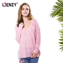 f546d8d202a LIENZY Pink V Neck Loose Sweater Winter women's Clothing Of Large Size Tunic  Tops Pull Femme