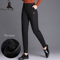 SHINYMORA 2017 Winter Women S Warm Thicken Casual Pants High Waist Cotton Sweatpants Bee Pattern Drawstring