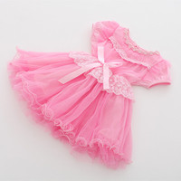 24M To 5 Years Baby Kids Girls Summer Pink Yellow Princess Lace Tulle Party Dresses Children
