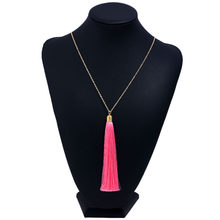 LZHLQ Brand Long Tassel Necklace For Women Pendant Necklace Statement Vintage Necklace Summer Fashion Boho Big Bohemian Jewelry(China)