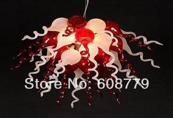 Antler Estilo Vermelho e Branco Murano Lustre De Vidro Soprado Luz