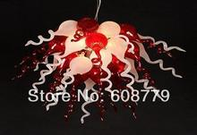 Antler Style Red and White Murano Blown Glass Chandelier Light