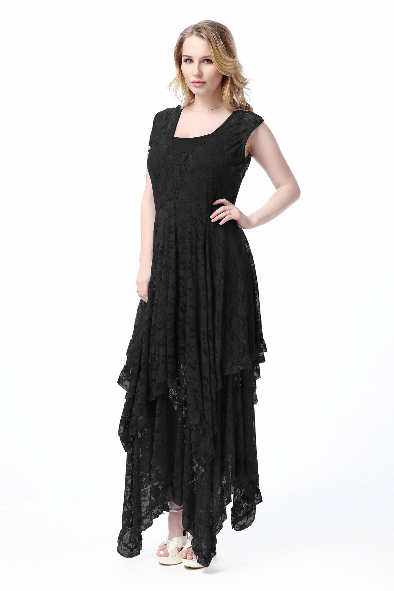 Sexy longue dentelle robe femmes robes 2019 été deux pièces ensemble grande taille 6XL 5XL 4XL bleu noir robe de soirée femme CM126