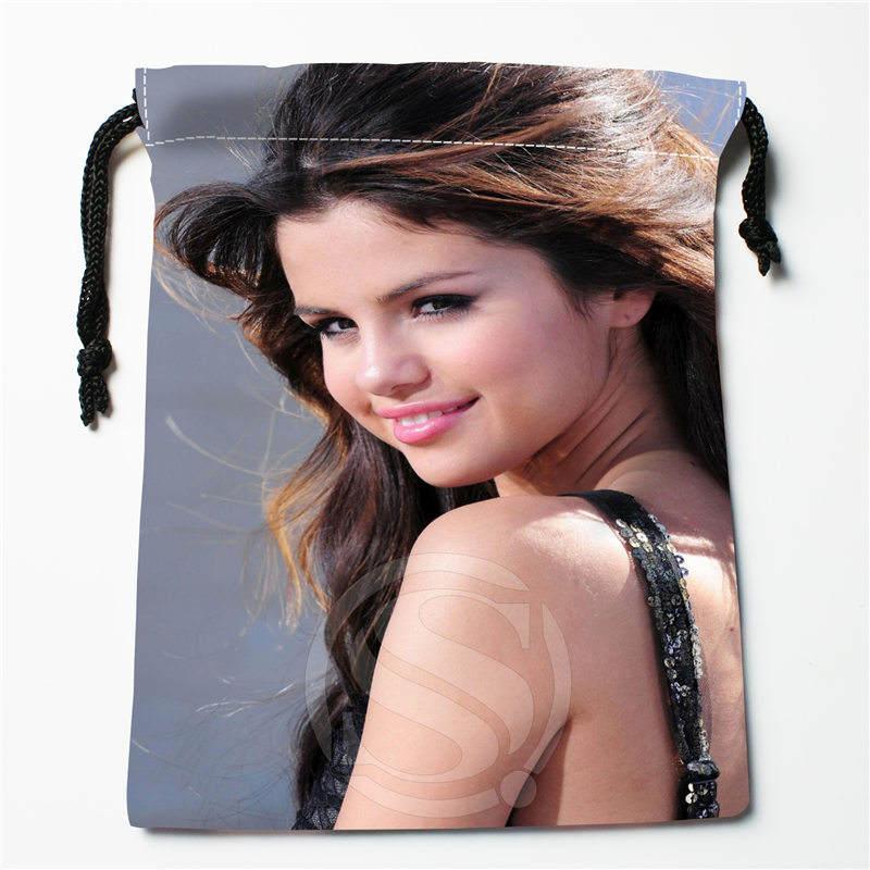 T w121 New selena gomez j Custom Printed receive Bag Compression Type drawstring bags size 18X22cm