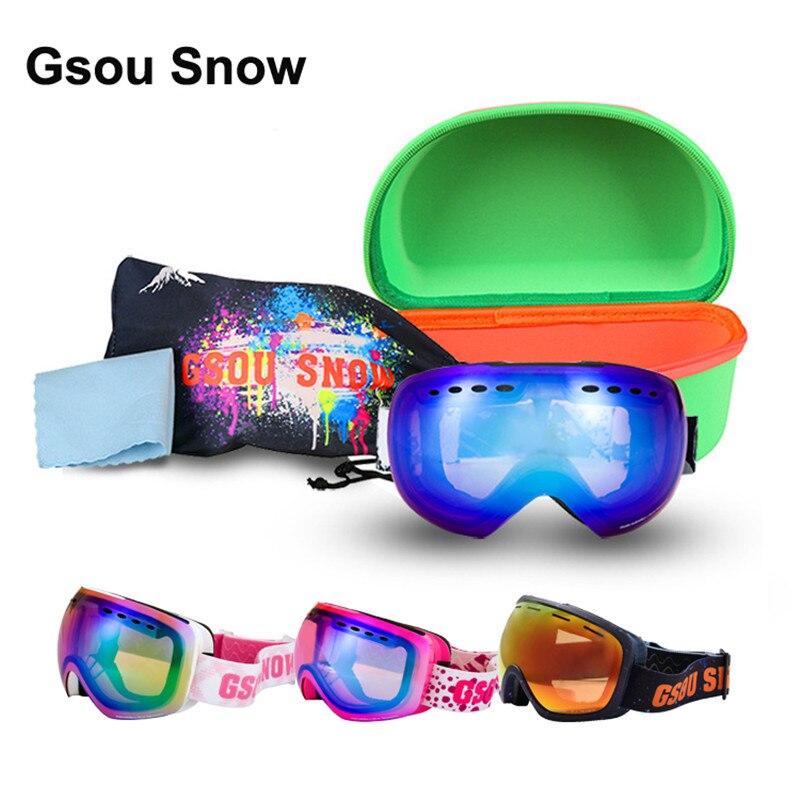 Gsou Зимние виды спорта, лыжи Mountain сноуборд Для женщин человек Очки взрослых снегоход кататься на лыжах УФ-защиты очки унисекс