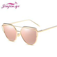 Jinjin.QC Fashion Cat Eye Vintage Brand Rose Gold Mirror Sunglasses For Women Metal Reflective Flat Lens Frame Men Sun Glasses
