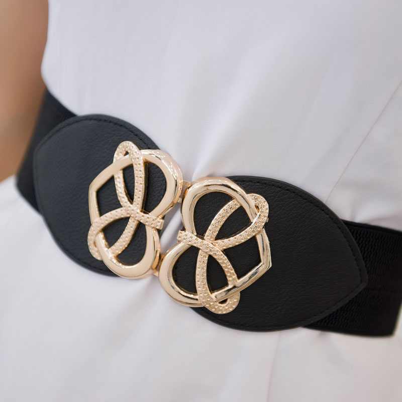 Women Fashion Bowknot Buckle Waistband Wide Elastic Stretch Waist   Belt