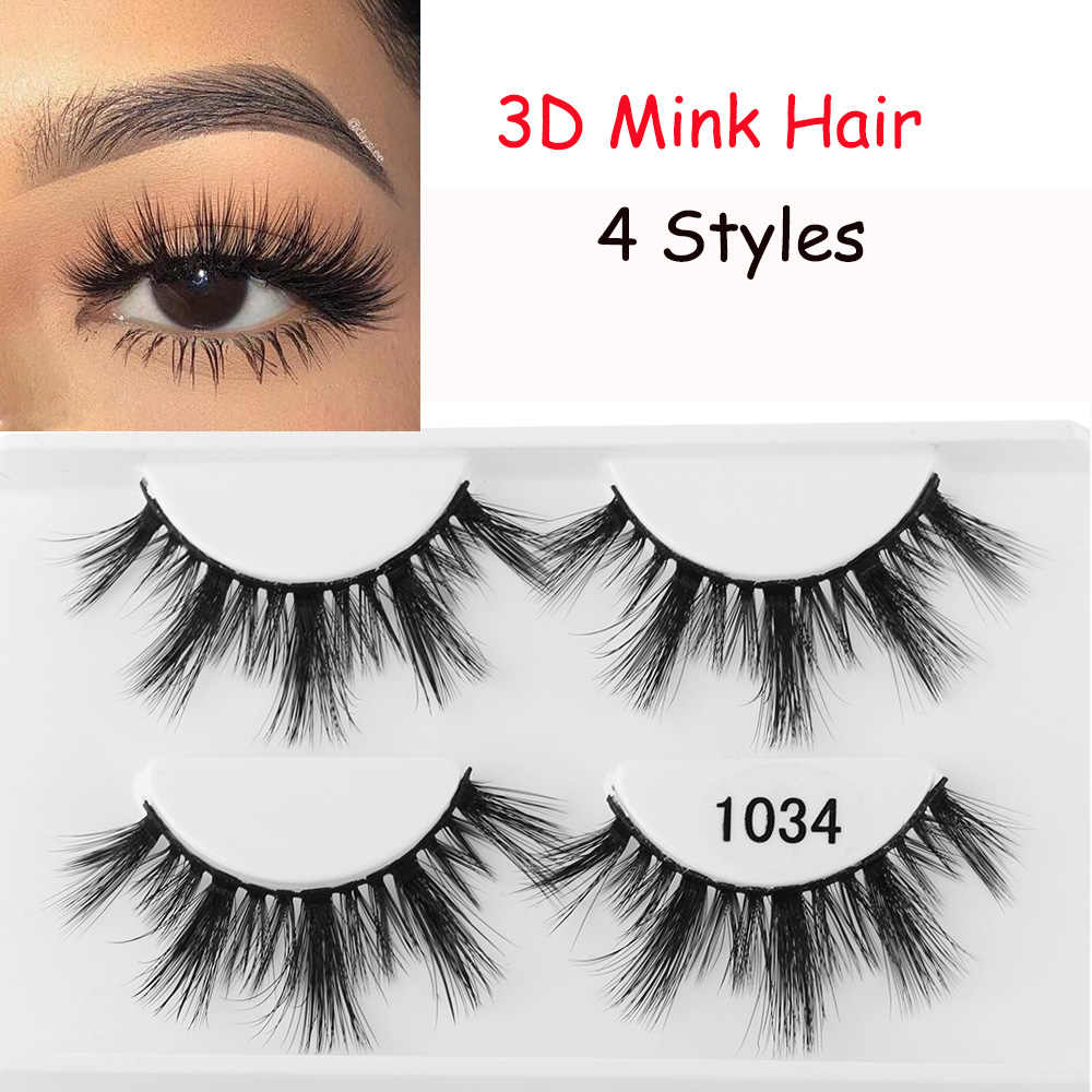 3ab7c57f377 ... 2 Pairs 3D Mink Hair False Eyelashes Wispy Natural Long Glam Lashes  100% Cruelty free ...