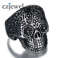 2017 Skull Rings Hot Men S Punk Style Flower Skull Biker Ring Fashion Skeleton Jewelry