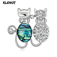 Animal Cat Brooches Crystal Brooch Metal Natural Shell Pins Diamonds Silver Scarf Shawl Pin for Couple Jewelry Love Gifts