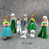 Disney 9 pcs Boneca 4-11 cm Congelado Rainha Elsa Princesa Anna Bonecas Enfeites Estatueta Brinquedo Modelo De Bolo De Aniversário decoração para o Presente Do Miúdo