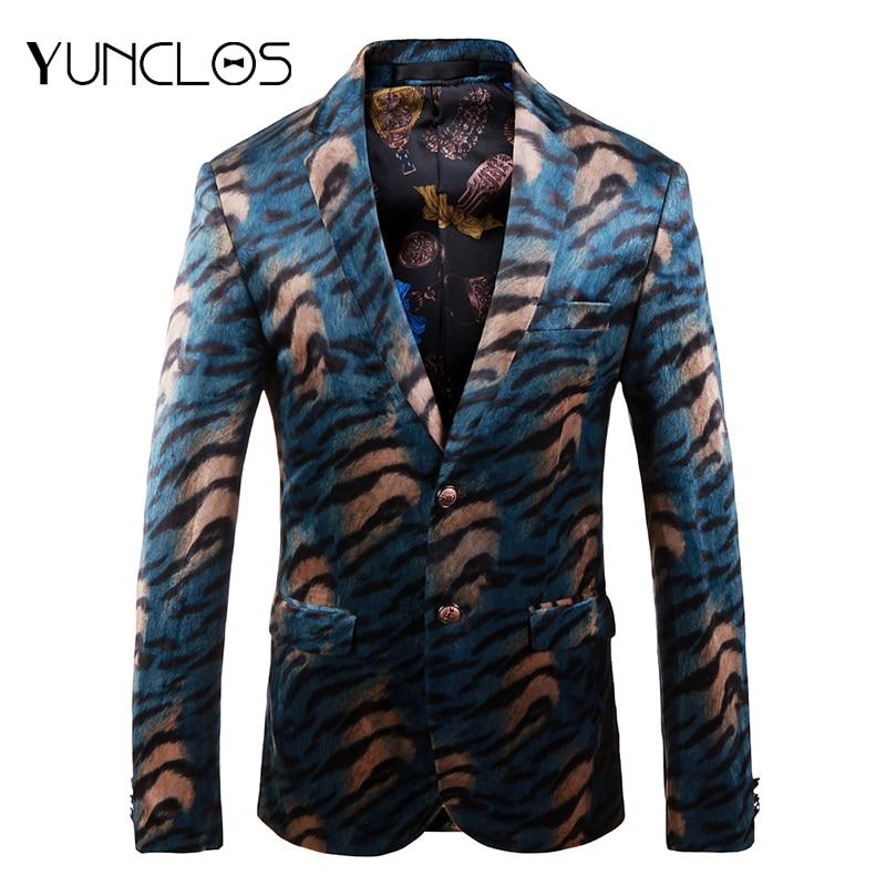 YUNCLOS Leopard print Wedding Blazer for Men Slim Fit Men Wedding Party Suit Jackets Mens Floral Blazer Jackets blazer masculino