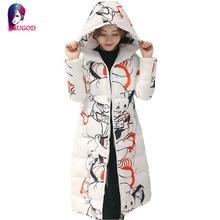Новая Мода Зима Женщины Ватник Женщины Тонкий Длинные Вниз хлопок Ватные Пальто Женщина С Капюшоном Печати Парки Теплый Плюс Размер пиджаки